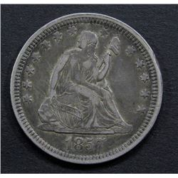 1857 SEATED QUARTER- VF - SCRATCHES REV