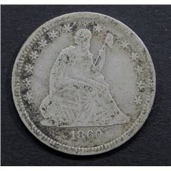 1860-O SEATED QUARTER VG