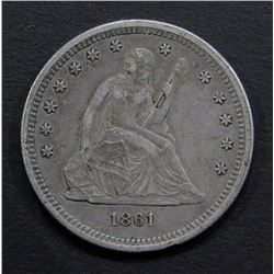 1861 SEATED QUARTER - XF/AU