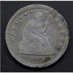 1862 SEATED QUARTER- VF