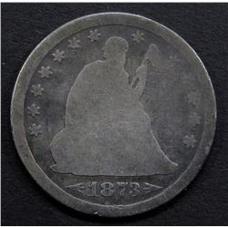 1873 ARROWS AT DATE SEATED QUARTER- AG