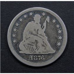 1876-CC SEATED QUARTER- VG/FINE