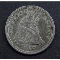 1877-S SEATED QUARTER- XF/ AU RIM NICK
