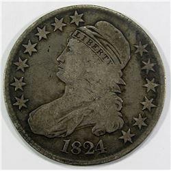 1824 CAPPED BUST HALF DOLLAR VG/F