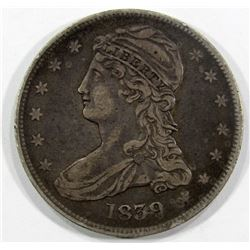 1839 CAPPED BUST HALF DOLLAR VF+