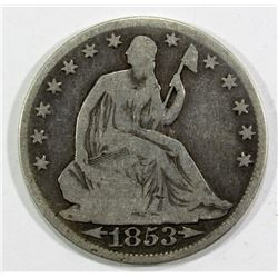 1853-O ARROWS & RAYS SEATED HALF DOLLAR VG+