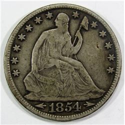 1854-O SEATED HALF DOLLAR FINE/VF
