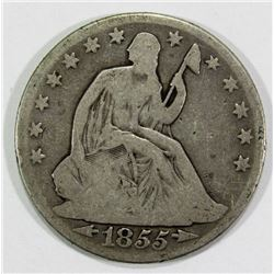 1855-O SEATED HALF DOLLAR GOOD/VG