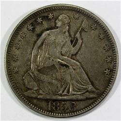 1858 SEATED HALF DOLLAR XF