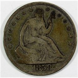 1858-O SEATED HALF DOLLAR VG