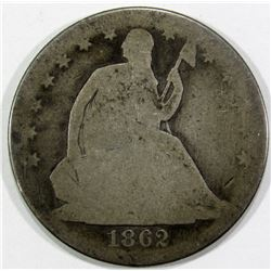 1862 SEATED HALF DOLLAR AG/G