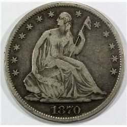 1870-S SEATED HALF DOLLAR FINE+