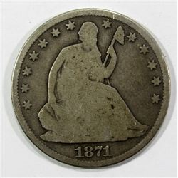 1871-S SEATED HALF DOLLAR GOOD