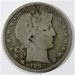 1892-S BARBER HALF DOLLAR GOOD