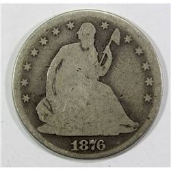 1876-CC SEATED HALF DOLLAR GOOD