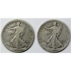 1916 & 1916-D WALKING LIBERTY HALF DOLLAR GOOD