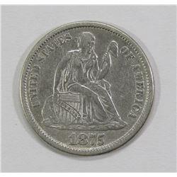 1875-CC SEATED DIME- XF- CLEANED