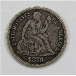 1876-CC SEATED DIME- XF