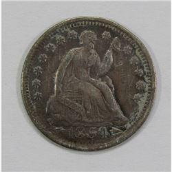 1854 SEATED HALF DIME- VF+