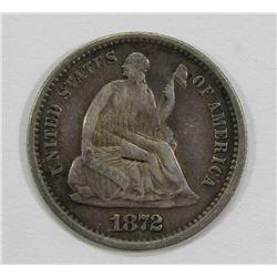 1872-S SEATED HALF DIME- VF/FINE