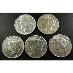 (5) CIRC+  PEACE $: 1922D, '23S, '24, '25,'26