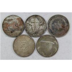 5-CANADA SILVER DOLLARS: