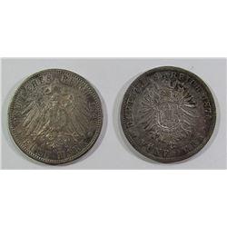 1876 & 1898 SILVER GERMAN DEUTSCHES REICH COINS