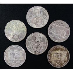 6-MUNICH SILVER OLYMPIC GERMAN COINS AU/UNC