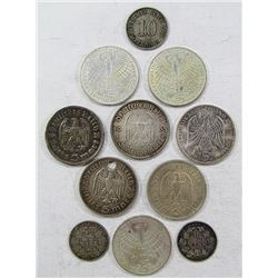 GERMANY SILVER COIN LOT (11 COINS)
