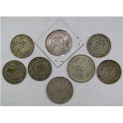 8-MEXICO SILVER COINS: