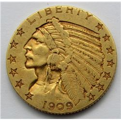 1909-D INDIAN $5 GOLD HALF EAGLE
