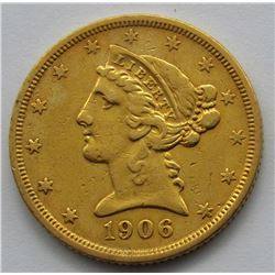 1906-S LIBERTY $5 GOLD HALF EAGLE