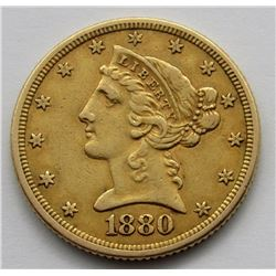 1880-P LIBERTY $5 GOLD HALF EAGLE