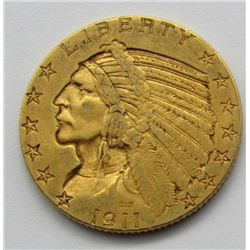 1911-S INDIAN $5 GOLD HALF EAGLE