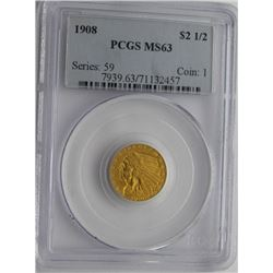 1908-P INDIAN $2.5 GOLD QUARTER EAGLE PCGS MS 63