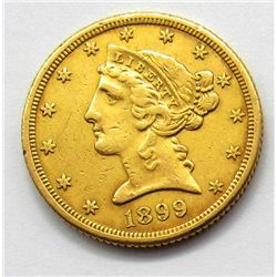1899-S $5 GOLD LIBERTY HALF EAGLE