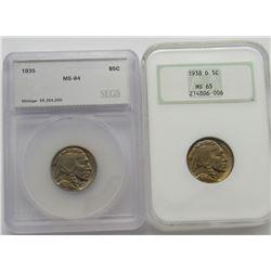 2- Graded MS Buffalo Nickels SEGS and NGC