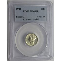 1941 Mercury Dime PCGS MS66FB 10C