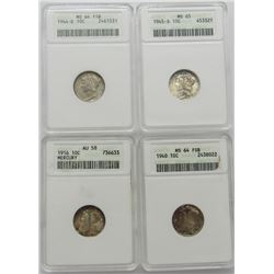 4-ANACS graded Mercury Dimes