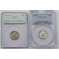 2- PCGS graded Mercury Dimes