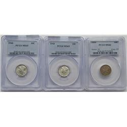 3-PCGS Mercury Dimes MS65,MS65,MS66