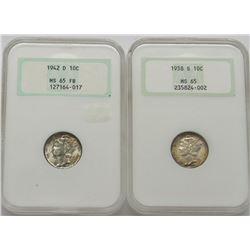 2-Old NGC Graded Mercury Dimes