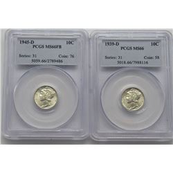 2-MS 66 PCGS Mercury Dimes