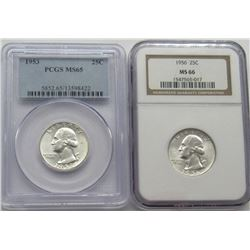 1953-P PCGS MS65 &1956-P MS66 Washington Quarters