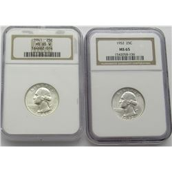 NGC 1941 MS65W & 1952-P MS65 Washington Quarters