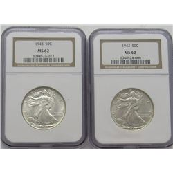 MS 62 1942 &1943 NGC Walking Liberty Half Dollars