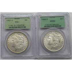 2- PCGS GRADED MORGAN DOLLARS, 1883-O MS61,