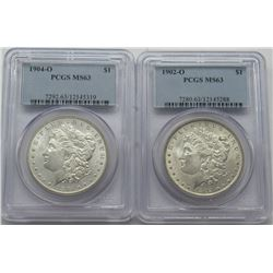 2- PCGS MORGAN SILVER DOLLARS- 1902-O MS63,