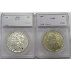 2-SEGS GRADED MORGANS PL 1921-P MS63,