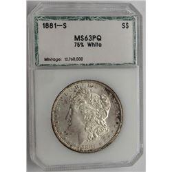 1881-S MS63PQ 75% WHITE PCI